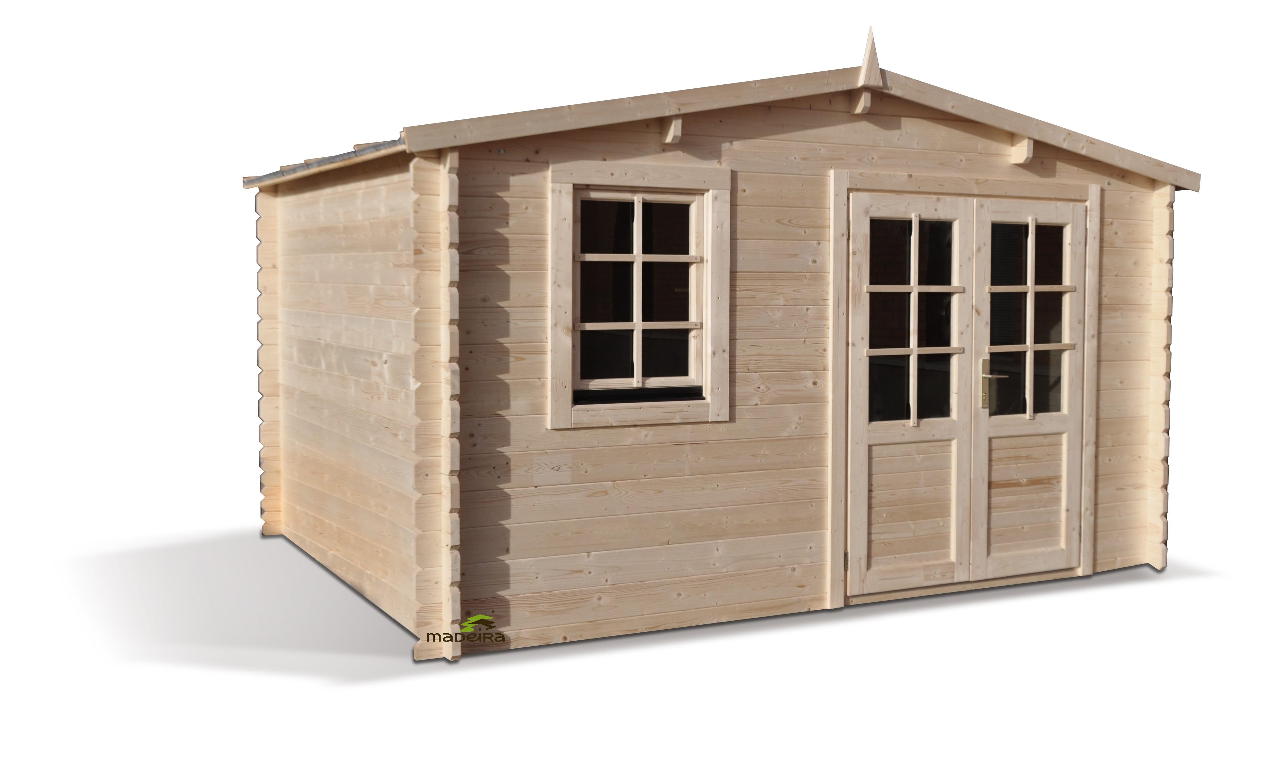 Abri bois medyne 34mm m x m madeira for Garage a domicile 95