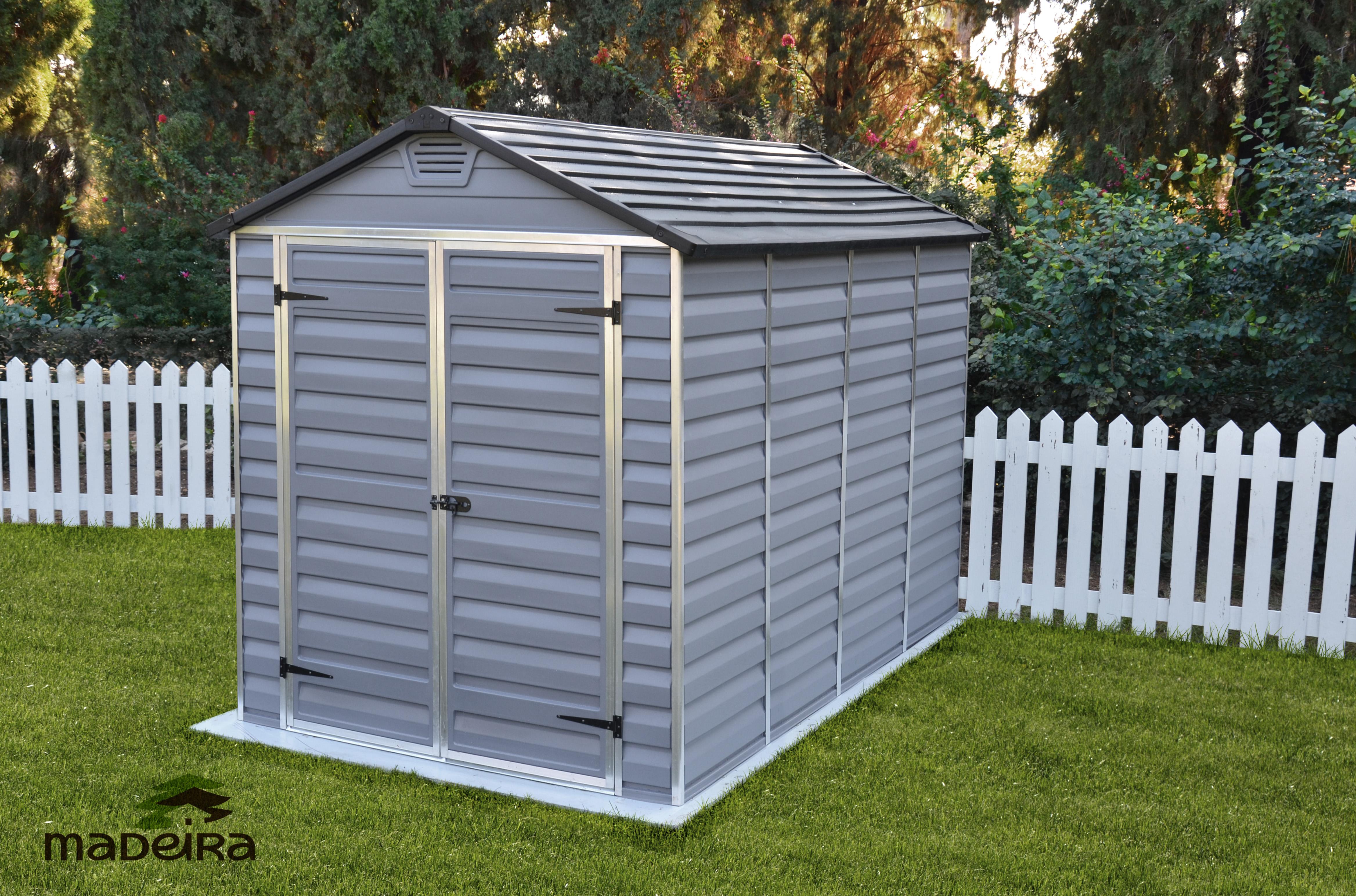 Abri andy en r sine polycarbonate avec plancher for Abri de jardin autoclave avec plancher