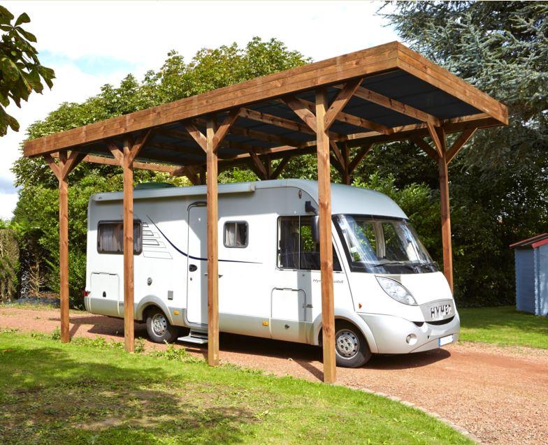 Carport couvert pour camping car en bois traite autoclave for Garage pour camping car en bois