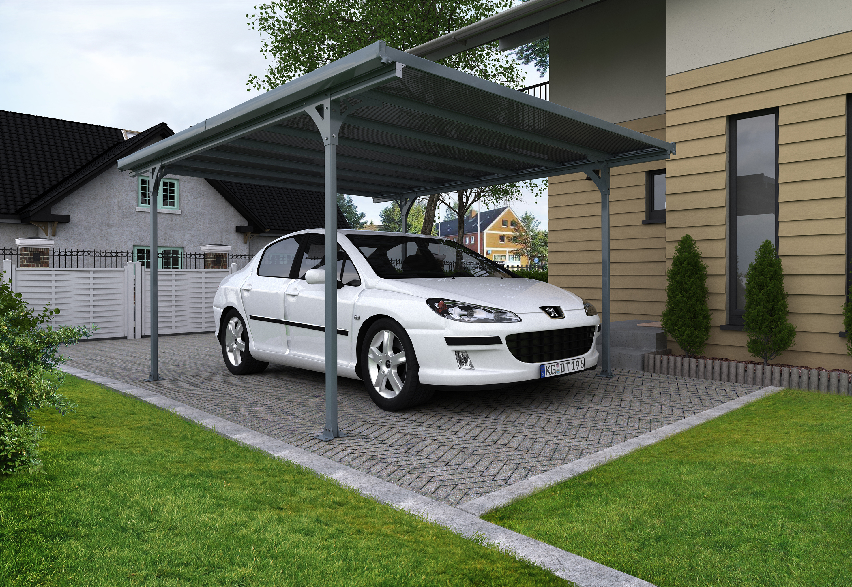 carport verona 5000 en alu 1 voiture commande a retirer au magasin jardipromo palram verona. Black Bedroom Furniture Sets. Home Design Ideas